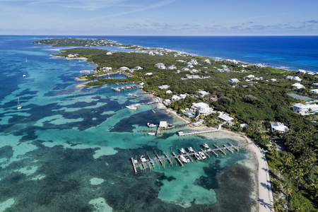 Aerial view of Elbow Cay in Abaco, Bahamas.