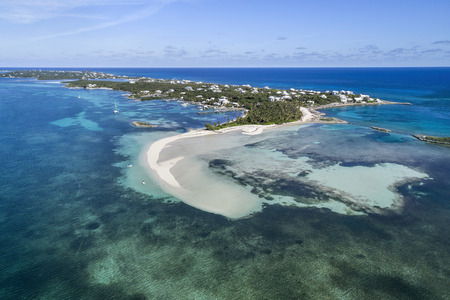 Aerial view of Tahiti Beach and sand bar on Elbow Cay in Abaco, Bahamas. Reklamní fotografie