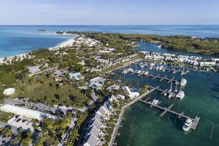 Aerial view of the Treasure Cay Marina  and resort on the island of Abaco, Bahamas. Reklamní fotografie
