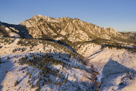 Aerial view of Green Mountain at sunrise during winter in Boulder, Colorado. Reklamní fotografie