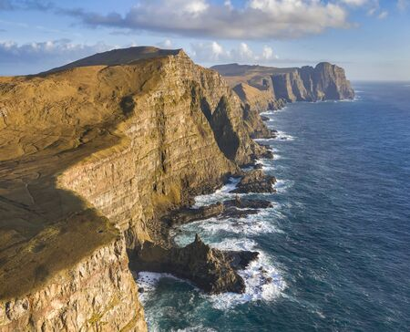 Aerial view of the Eggjarnar Cliffs along the Suduroy coast in the Faroe Islands. Reklamní fotografie