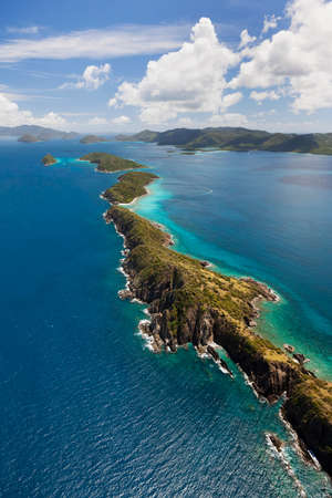 Aerial view of various cays near the island of St. John in the United States Virgin Islands.