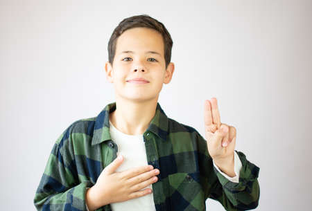 Little boy wearing casual clothes swearing with hand on chest and open palm, making a loyalty promise