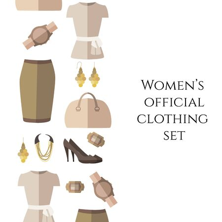 Vector illustration of womens official clothing set - shoes, skirt, bag, ring, necklace, blouse. Fashion set for bags, tag and icon. Womens day card, invitation, template. Isolated on background. Shopping Flat style design. Vektorgrafik