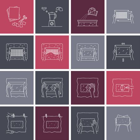 Hand paper making process icon set vector Vettoriali