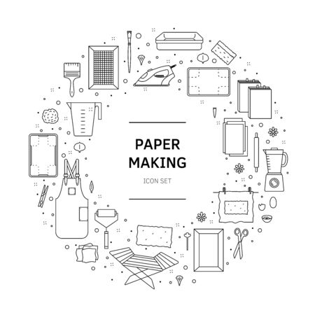 Items for hand papermaking icon set vector 向量圖像