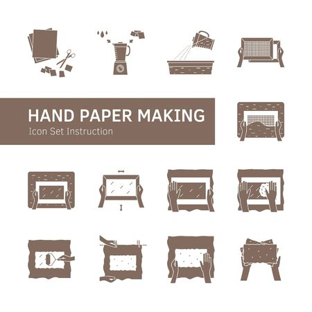 Hand paper making process icon set vector Illustration