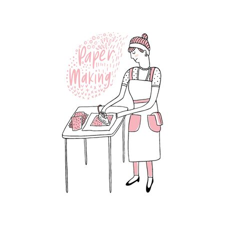Woman making handmade paper illustration cartoon style