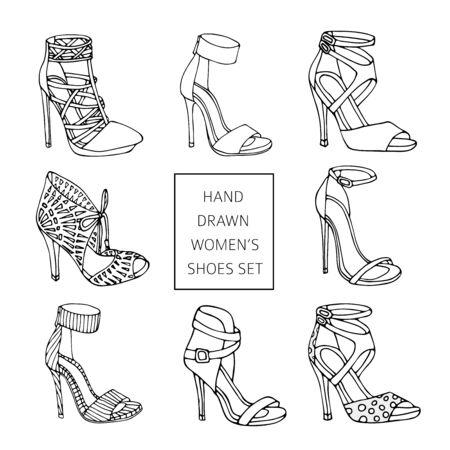 Hand drawn women s shoes silhouette set.
