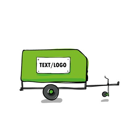 illustration of a car trailer on white background