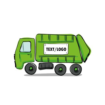 Recycle truck icon hand drawn vector illustration