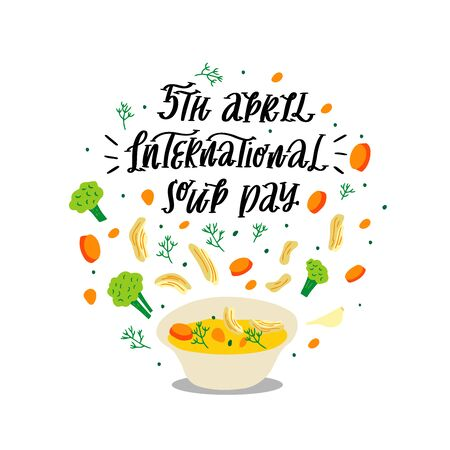 Hand drawn vector illustration of chicken soup
