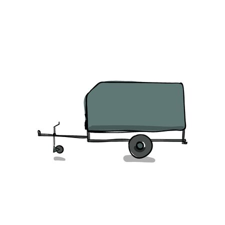 illustration of a car trailer on isolated white background in hand drawn cartoon style.