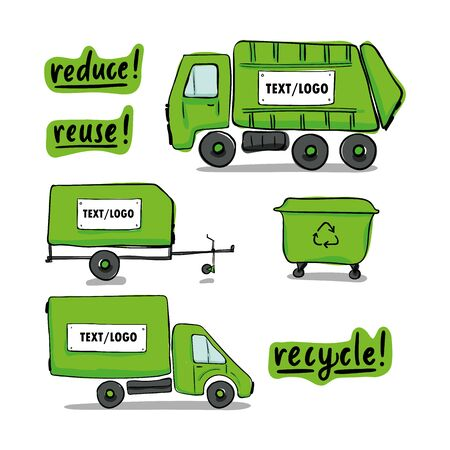 Set of cargo vehicle truck, waste collector, car trailer