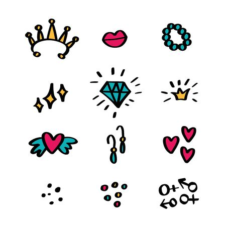 Girl or Lady stickers set lips, diamond, crown, man and woman