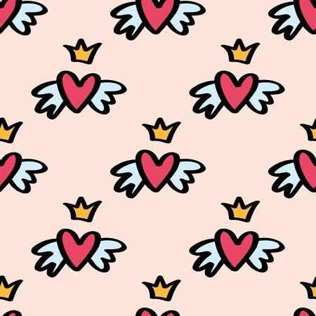 Girly seamless pattern with Fashion elements heart with wings and crown. Vector trendy illustration for notebook, textile, wallpaper, tshirt in doodle cartoon style.