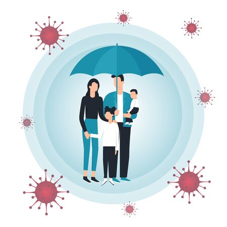 Family vector flat illustration during Coronavirus Covid-19. Coronavirus infection control. Bacteria in the air. Immune system protection, boost, boosters, support. Protection with umbrella
