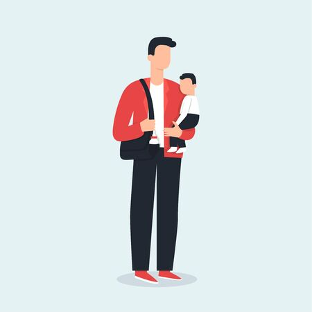 Stay at home dad holding a baby. Vector illustration, cartoon flat style. Happy parenting. Stay at home father with a child.. Modern family. Male nanny, manny. House dad, SAHD, househusband, house spouse. Dad on maternity leave