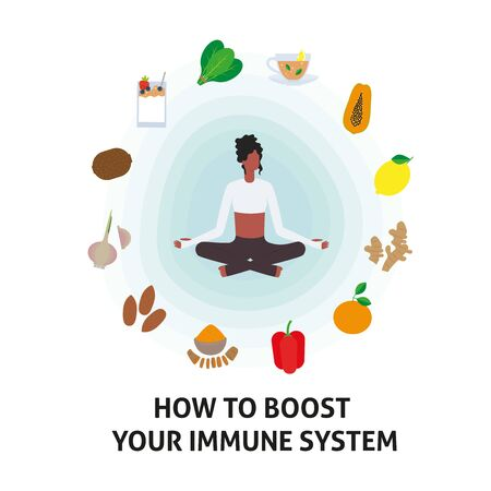 Immune system vector protection. Health bacteria virus protection. Medical prevention human boosters. Healthy woman reflect bacteria attack. Boost Immunity with medicine concept illustration