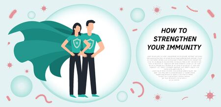 Immune system vector icon. Health bacteria virus protection. Medical prevention human germ. Healthy man reflect bacteria attack with shield. Boost Immunity with medicine concept illustration Ilustração Vetorial