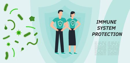 Immune system vector icon. Health bacteria virus protection. Medical prevention human germ. Healthy man, woman reflect bacteria attack with shield. Boost Immunity medicine concept illustration Ilustração Vetorial