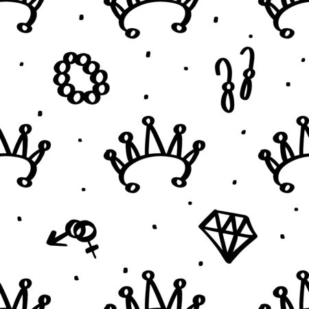 Girly seamless pattern with Fashion elements diamond, crown, diadem, mars venus sign, earrings, bracelet. Vector trendy illustration for notebook, textile, wallpaper, tshirt in doodle cartoon style
