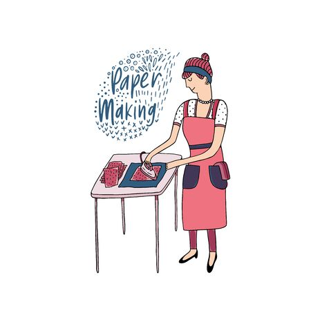Vector illustration in sketch doodle style of a housewife woman in a hand making process. Hand drawn female in apron pressing hand made paper on a table with iron
