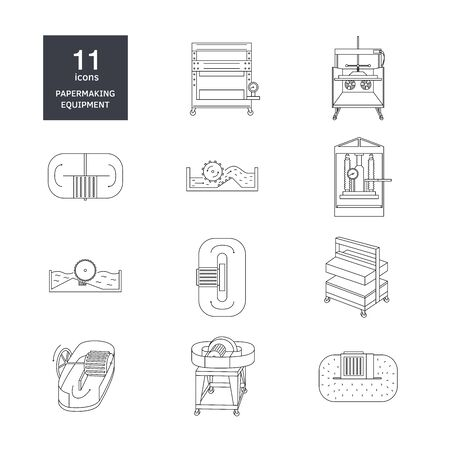 Vector illustration. Thin line icon set of equipment for hand papermaking. Related for instruction, workshop. Hydraulic press, hollander beater, drying box. Linear symbols set.