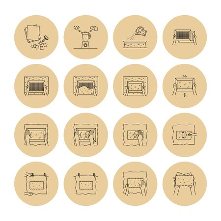 Vector illustration. Thin line icons of hand papermaking process. Related for instruction, handmade paper workshop. Including mould and deckle, pulp, slurry, pressing, drying. Linear symbols set