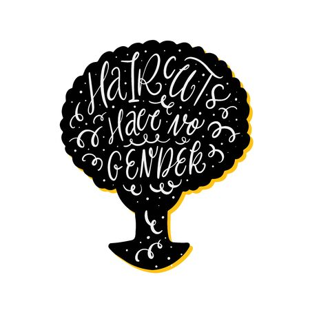 Quote lettering on black silhouette vector haircut