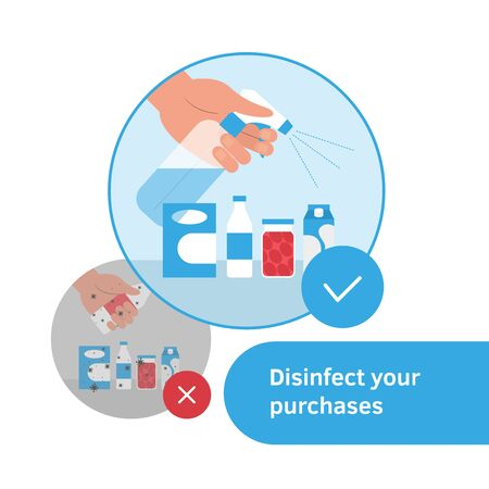 Wash, clean, disinfect purchase. Hand holding spray with disinfectant and spay to grocery. Vector illustration flat style design. Coronavirus prevention rules, advice. Banner sign store, supermarket