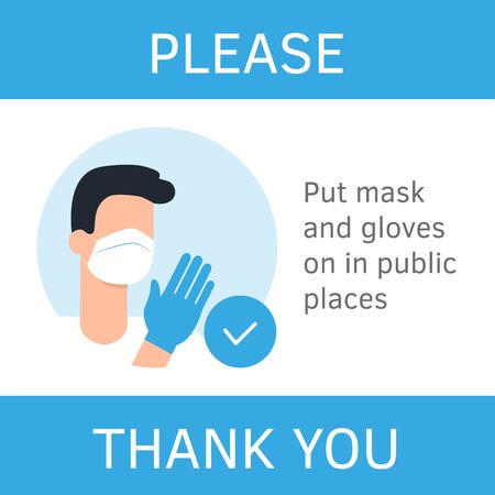 Instruction for shop. Please wear a mask and gloves in the store. Supermarket sign. Virus prevention flat style vector illustration. Man in mask. Cartoon character. Safe shopping. Infographic Vector Illustration