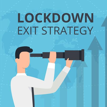 Vector flat style illustration of a man and woman with telescope. Lockdown 2020 exit strategy. Quarantine end, self isolation exit. People, coronavirus. Lifting lockdown plan. Ilustracja
