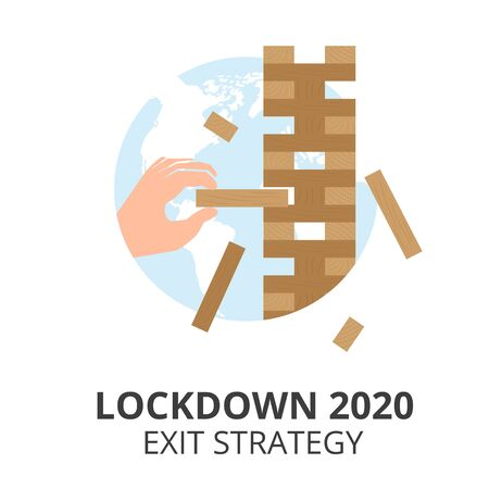 Vector flat illustration of lockdown exit strategy concept. Hand playing  board game. Quarantine, lifting lockdown plan. Vector flat style illustration. Coronavirus, Covid, economy.