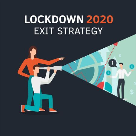 Vector flat style illustration of a man and woman with telescope. Lockdown 2020 exit strategy. Quarantine end, self isolation exit. People, coronavirus. Lifting lockdown plan Ilustracja