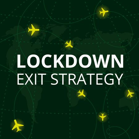Lockdown exit strategy. Quarantine end, self isolation exit. People, coronavirus. Lifting lockdown plan. Air planes flying on world map with coordinates. Covid pandemic, aviation crisis. Flat vector.