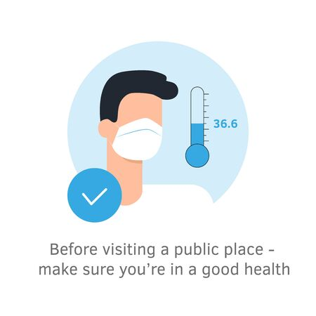 Temperature check. Mask on the face. Coronavirus prevention. Epidemic 2019-ncov. Vector illustration flat design. Isolated on white background. Temperature thermometer sign Ilustrace