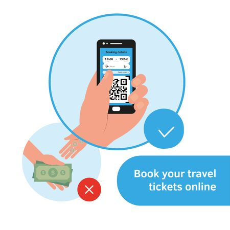 Hand with phone buying booking ticket online. Guidance, recommendation. Avia coronavirus virus prevention rules. Travel guidance for travelers avia flights, train trips infographic flat style vector
