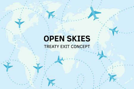 Open skies treaty exit concept. Vector flat illustration world map with intelligence air planes flying around. Planning strategy. International politic. Administration prepares to leave, withdrawal
