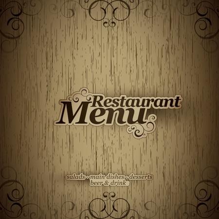 디자인: 벡터. 나무 질감에 레스토랑 메뉴 디자인 일러스트