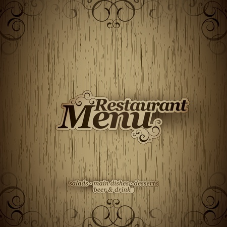 Vector. Restaurant menu design on a wooden texture Vector
