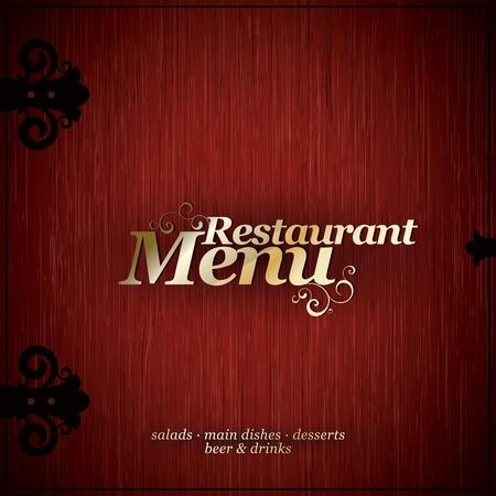 Vector. Diseño de menú de restaurante en una textura madera