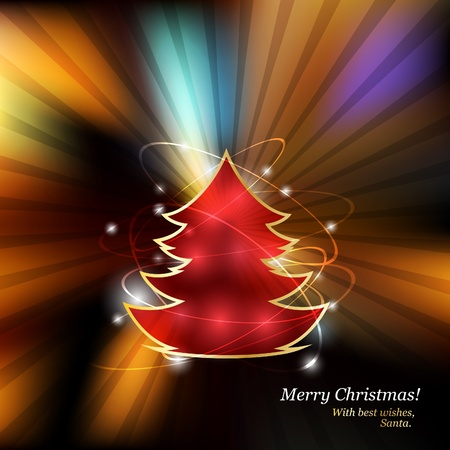 Very bright and glamorous background with Christmas tree Stock Vector - 10903958