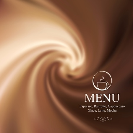 Vector menu design with milk-chocolate background Vector