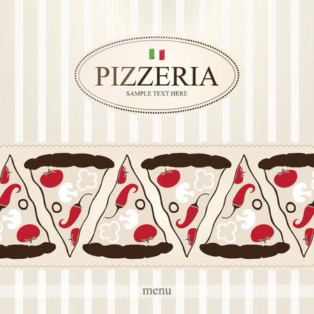 plato pasta: Dise�o de la portada del men� de pizzer�a