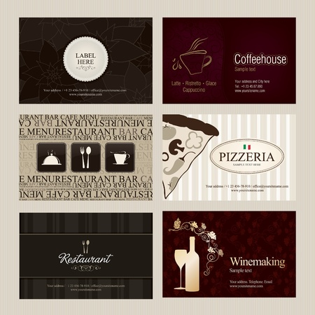 Set of 6 detailed vertical business cards. For cafe and restaurant  Vector