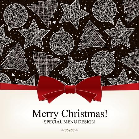 boldog karácsonyt: Vector. Karácsonyi menü design Illusztráció