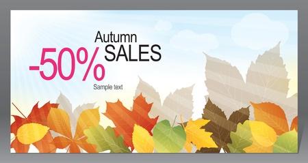 sale banner: Vector. Autumn promotional flyer  Illustration