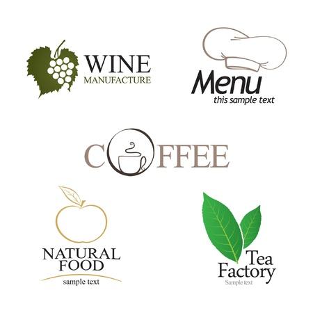 leafs: Etichette set. Elementi di corporate identity, industria alimentare e delle bevande.
