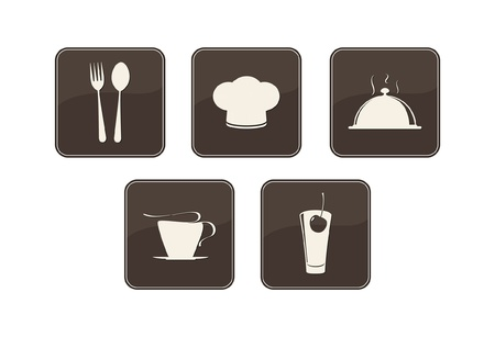 modern kitchen design: Labels set. Elements of corporate identity, food and drink industry.